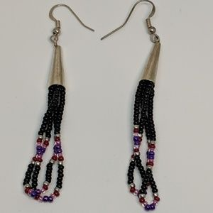Jewelry - Long Handmade Boho Black Bead Silver Earrings